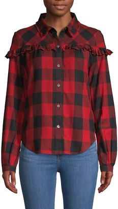 Frame Ruffle-Trimmed Buffalo Plaid Cotton Shirt