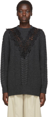 See by Chloe Grey and Black Wool Lace Oversized Sweater