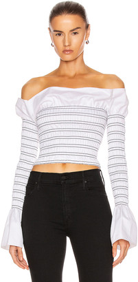 Dion Lee Shirred Cotton Long Sleeve Top in Ivory & Black | FWRD