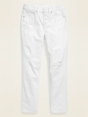 Old Navy Built-In Tough Distressed Button-Fly White Boyfriend Jeans for Girls