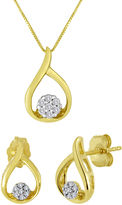 JCPenney FINE JEWELRY 1/10 CT. T.W. Diamond 10K Yellow Gold Earrings and Pendant Necklace Set