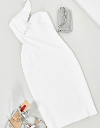 Aq/Aq AQAQ midi dress with cut out detail in white