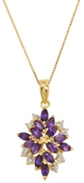PRIME ART & JEWEL Multi-Gemstone (1-3/8 ct. t.w.) Pendant Set in 18k Yellow Gold Over Sterling Silver