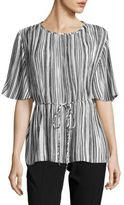 Ellen Tracy Accordion Pleated Short-Sleeve Top