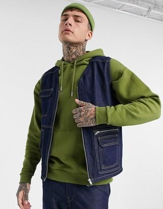 Jack and Jones Originals utility vest in denim blue
