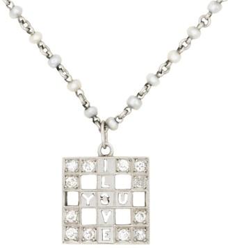 "Stephanie Windsor Vintage Platinum, Diamond & 1.2MM Pearl ""I Love You"" Dangle Pendant Bracelet"