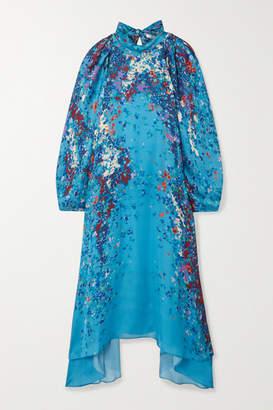 Givenchy Floral-print Silk-satin Midi Dress - Blue
