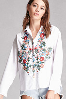Forever 21 FOREVER 21+ Embroidered Floral Shirt