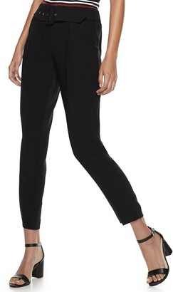 Nine West Women's Belted Tapered Carrot Pants
