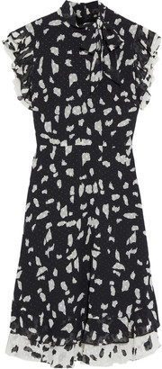Mikael Aghal Ruffled Printed Fil Coupe Georgette Dress