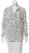L'Agence Silk Abstract Print Blouse