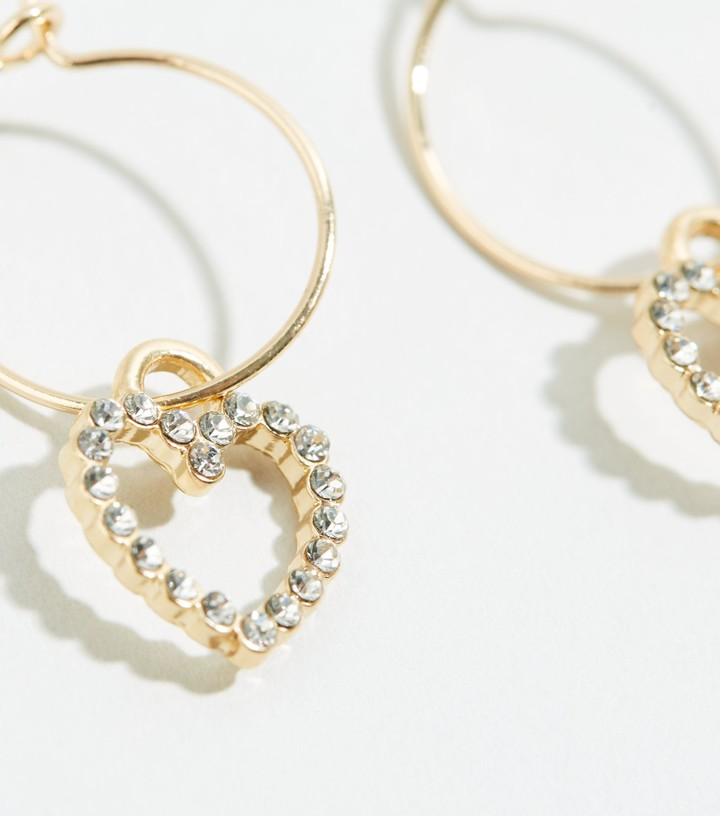 Thumbnail for your product : New Look Diamante Heart Hoop Earrings