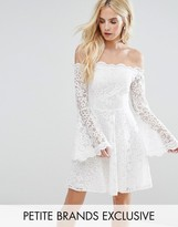 John Zack Petite Off Shoulder Contrast Allover Lace Mini Dress With Fluted Sleeve Detail