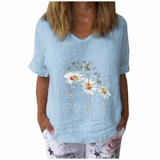 Betory Womens Linen Embroidered Shirt Summer Short Sleeve Sunflower Graphic T-Shirts Loose Tunic Tops(Light Blue X-Large)