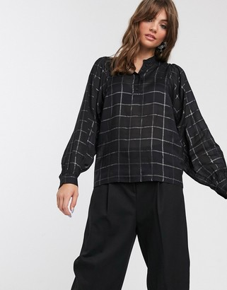 InWear Cora windowpane check balloon sleeve blouse-Black
