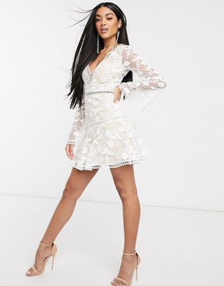 Love Triangle plunge mini dress in barely there lace