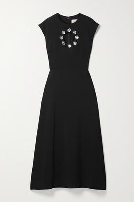 Christopher Kane Cutout Crystal-embellished Crepe Midi Dress - Black