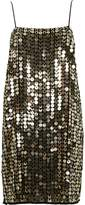 River Island Womens Gold metallic disk sequin slip dress