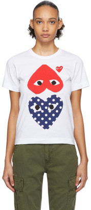 Comme des Garcons White and Red Polka Dot Upside Down Heart T-Shirt