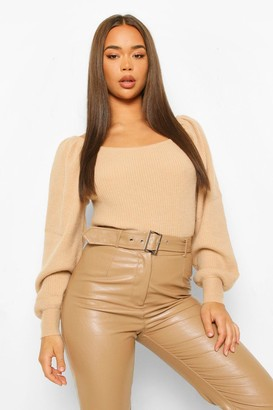 boohoo Rib Knit Balloon Sleeve Jumpers