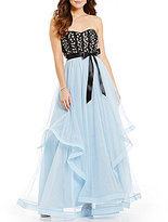 Teeze Me Strapless Beaded Corset Tiered Skirt Ballgown