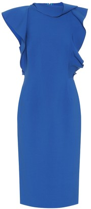 Oscar de la Renta Ruffled stretch-wool dress