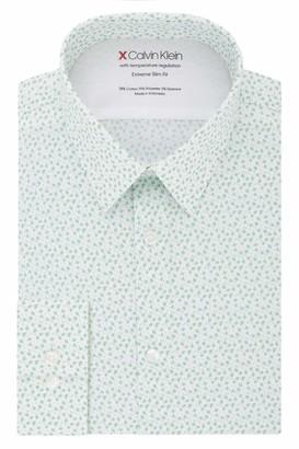 Calvin Klein Men's Dress Shirt Xtreme Slim Fit Thermal Stretch Print
