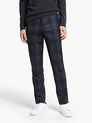 KIN Italian Super 120s Wool Large Check Slim Fit Suit Trousers, Blue
