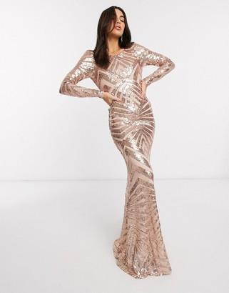 Goddiva geometrical open back sequin maxi dress in rose gold