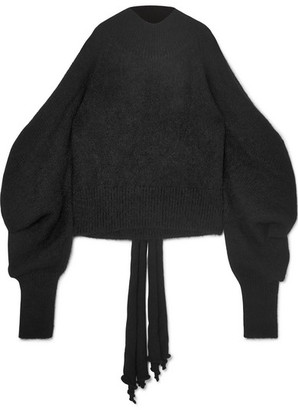 16Arlington Cold-shoulder Knitted Turtleneck Sweater - Black