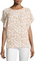 MICHAEL Michael Kors Animal-Print Flutter-Sleeve Blouse, Dark Camel