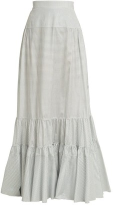 Calvin Klein Tiered Long Silk Skirt - Womens - Light Blue