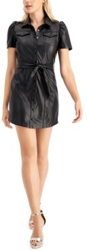 GUESS Lina Faux-Leather Shirtdress