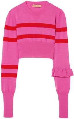 Maggie Marilyn Cropped Striped Merino Wool Top