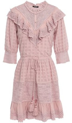 Love Sam Lace-paneled Ruffled Broderie Anglaise Mini Dress