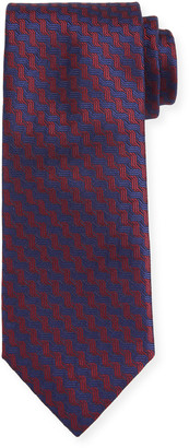 Canali Men's Contemporary Braid Silk Tie, Red