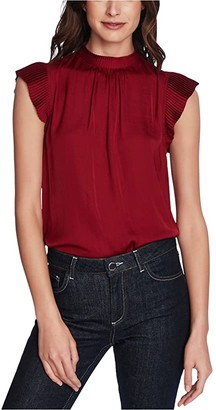 1 STATE Sleeveless Flutter Sleeve Mock Neck Top (Night Meadow) Women's Clothing