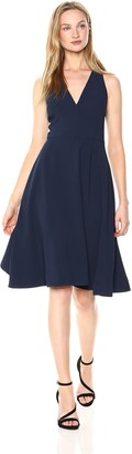 Dress the Population Women's Catalina Solid Sleeveless Fit & Flare Midi Dress