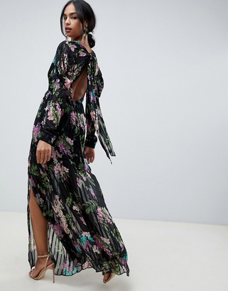 Asos DESIGN solid and stripe maxi dress in dark floral print