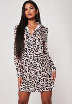Missguided Pink Leopard Print Oversized Shirt Dress