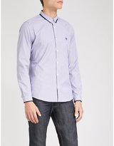 The Kooples Contrast-trim striped slim-fit cotton shirt