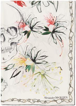 Alexander McQueen White Silk Endangered Flowers Scarf