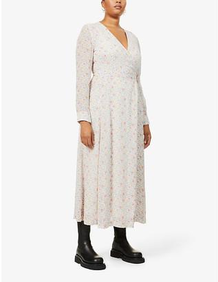 Ganni Floral-print georgette maxi wrap dress