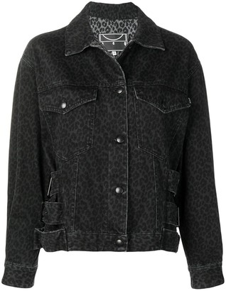 Mcq Swallow Leopard Print Denim Jacket