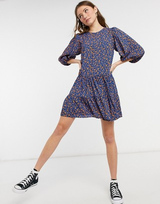 New Look double tier smock mini dress in blue floral