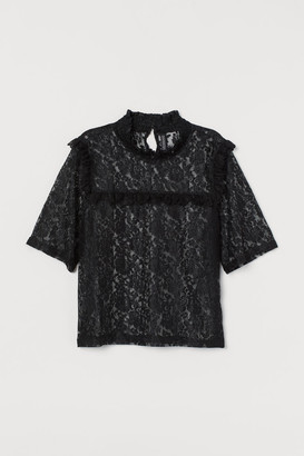 H&M Smock-collar Lace Blouse - Black