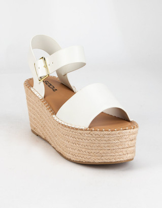 Soda Sunglasses Ankle Strap Womens White Espadrille Heels
