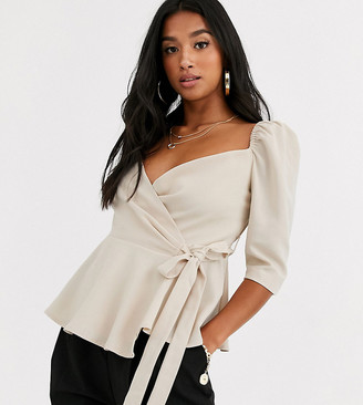 Outrageous Fortune Petite wrap front puff sleeve top in cream