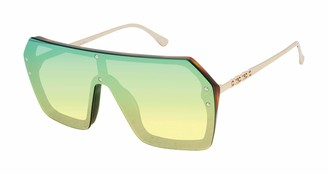 Sam Edelman Women's SE187 Over-Sized Metal Shield Sunglasses with 100% UV Protection