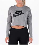 Nike Women's Sportswear Essential Crop Long Sleeve Top, Grey